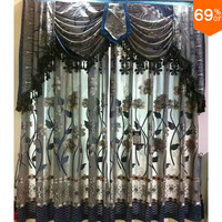 Grey Silver Embroidery flowers curtains dinning Room Curtain Classic designe kitchen rooms restaurant hall or bedroom Curtain
