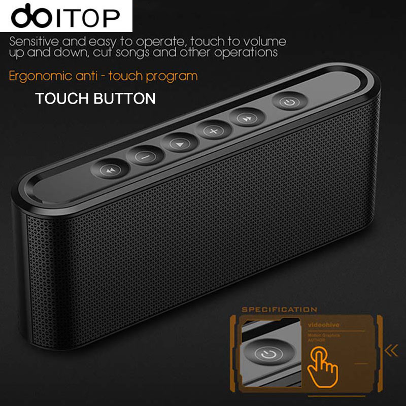 DOITOP Portable Touch Button <font><b>Bluetooth</b></font> <font><b>Speaker</b></font> Wireless Stereo <font><b>Surround</b></font> Hifi Music Subwoofer Super Bass <font><b>Speaker</b></font> Support TF Card