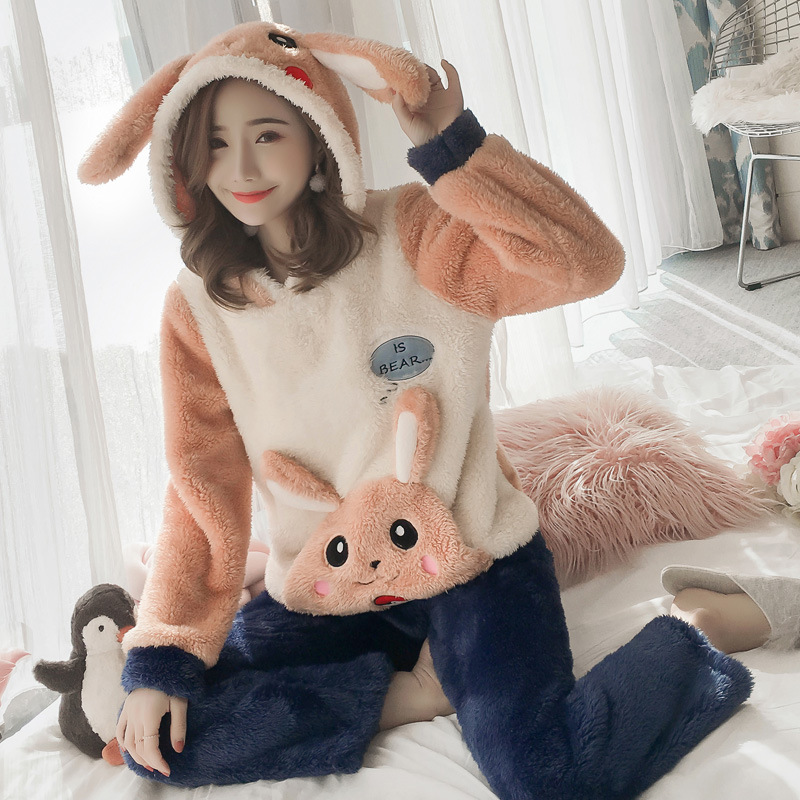 Winter Women Pajama Flannel Sleepwear Long Sleeves Hot Pajamas For Women Velvet Pajama Women Soft Clothing 68