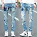 2016 Metrosexual de Los Hombres Pantalones Vaqueros Rasgados Pantalones Vaqueros Holgados Pantalones de Moda de Corea