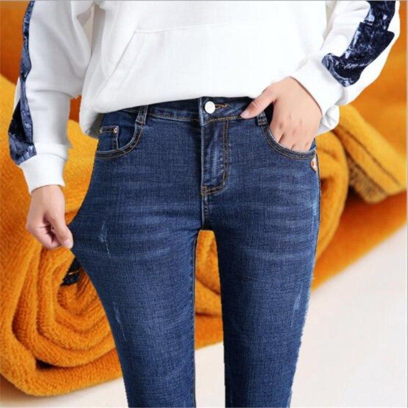 WKOUD Women Jeans 2018 Winter Fall Denim Trousers Thicken Warm High Waist Pencil Pants Female Skinny Jeans Pants Plus Size P8558