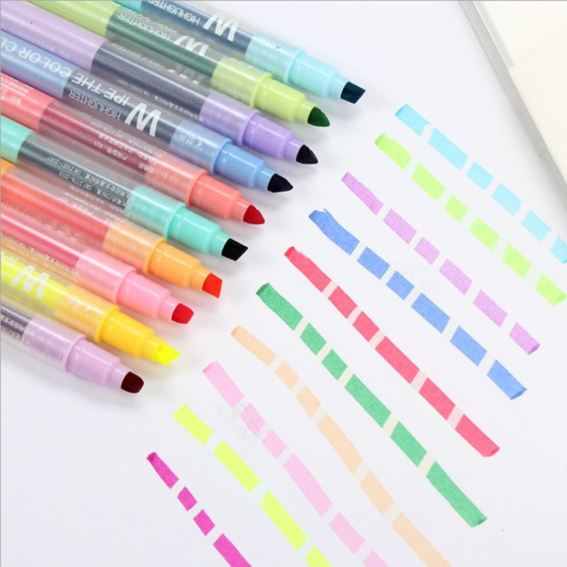 10Pcs Double-end Erasable Highlighter Pen Markers Pastel Liquid Chalk Marker Fluorescent Milkliner Highlighters Color  10Pcs Double-end Erasable Highlighter Pen Markers Pastel Liquid Chalk Marker Fluorescent Milkliner Highlighters Color