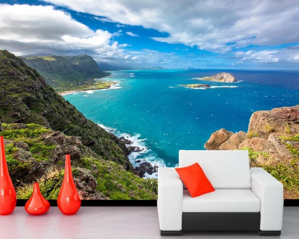 Custom murals,Tropics Scenery Coast Sky Hawaii Clouds Crag nature wallpaper,living room bedroom sofa tv wall  papel de parede