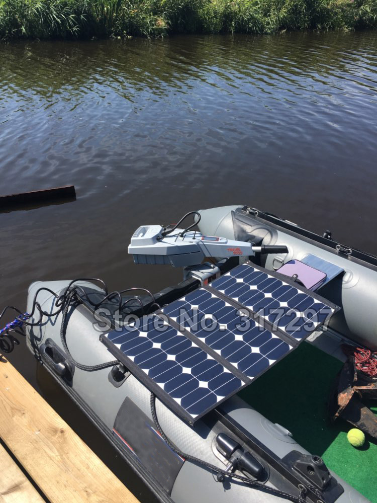 SUNPOWER 75 Watt 36V Flexible Folding Solar Panel Frameless Fabric Portable Solar Charger for Electric Marine Engine Torqeedo