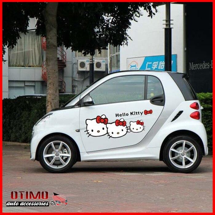 2Pcs 65X23CM Funny Hello Kitty Car Stickers Car Side Door