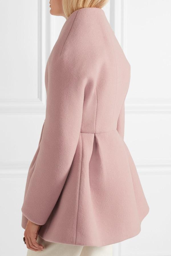 longueur Manteau Hiver Femmes Femme Veste Casacos Femelle Survêtement Simple Laine Solide Automne Rose De Et Mode Mi nqRwzXEzx