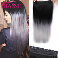 Black To Gray Straight Hair Heat Resistant Synthetic Fiber Straight Black to Silver Grey Ombre Color Clip In Hair Extensions