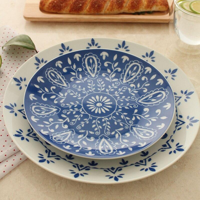 North European Style Ceramic Dishes \u0026 Plates Kitchen Pottery On glazed Round Blue Flower Printed Plate Dinner Steak Dish 10Inch-in Dishes \u0026 Plates from Home ... & North European Style Ceramic Dishes \u0026 Plates Kitchen Pottery On ...