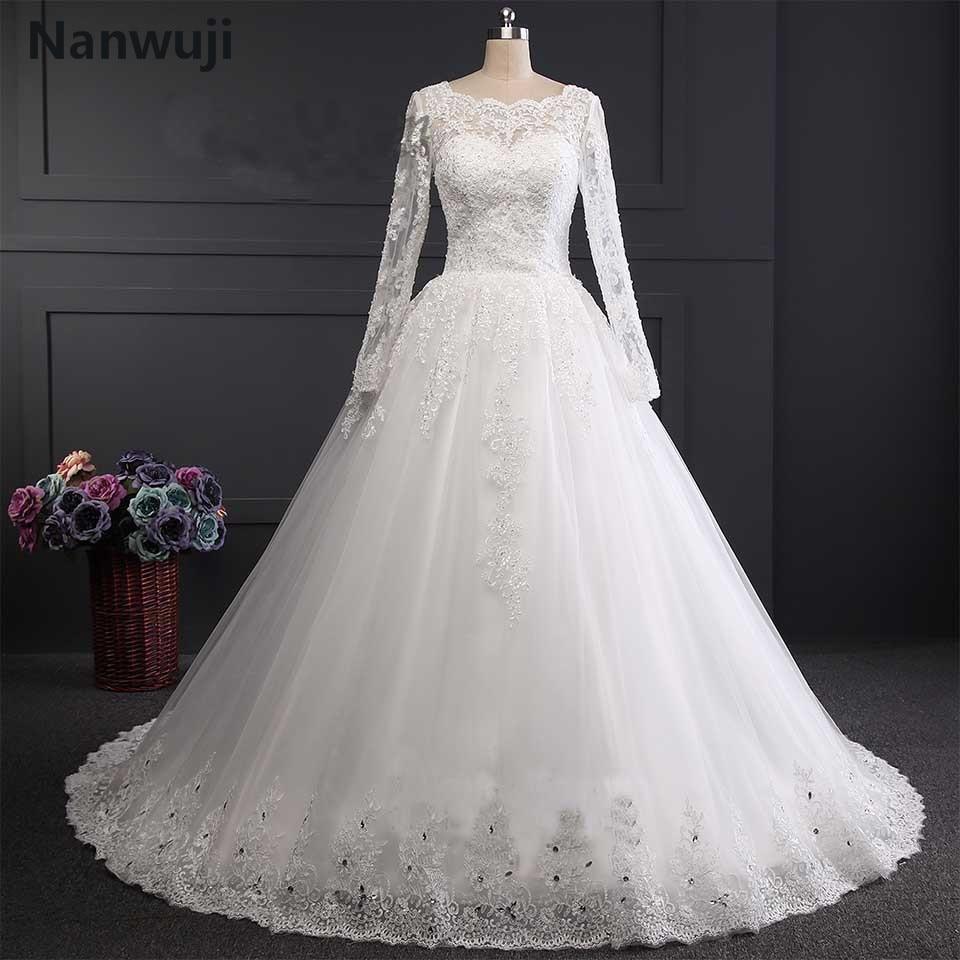 Real Photo robe de mariage White & Ivory US2.4.6.8.10.12.plus Size Հարսանյաց զգեստ երկար թևով մահմեդական vestido De noiva New 2017