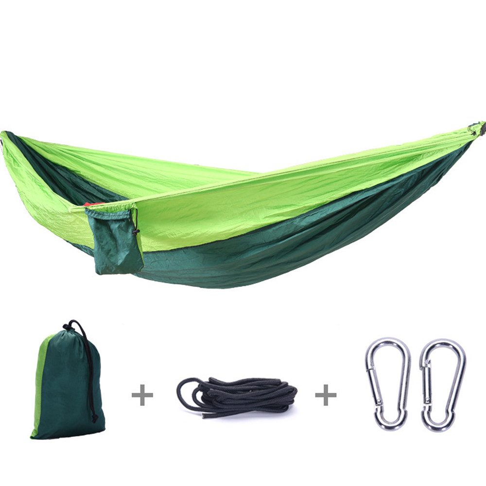 Single Double Hammock Adult Outdoor Backpacking Travel Survival Hunting Sleeping Bed Portable With 2 Straps 2 CarabinerSingle Double Hammock Adult Outdoor Backpacking Travel Survival Hunting Sleeping Bed Portable With 2 Straps 2 Carabiner