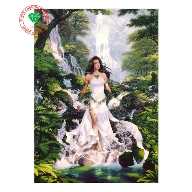 3a472785319 Diy Diamond Painting 3d Diamond Embroidery Landscape Waterfall Beautiful  Lady Pictures Of Rhinestones Hobbies And Crafts