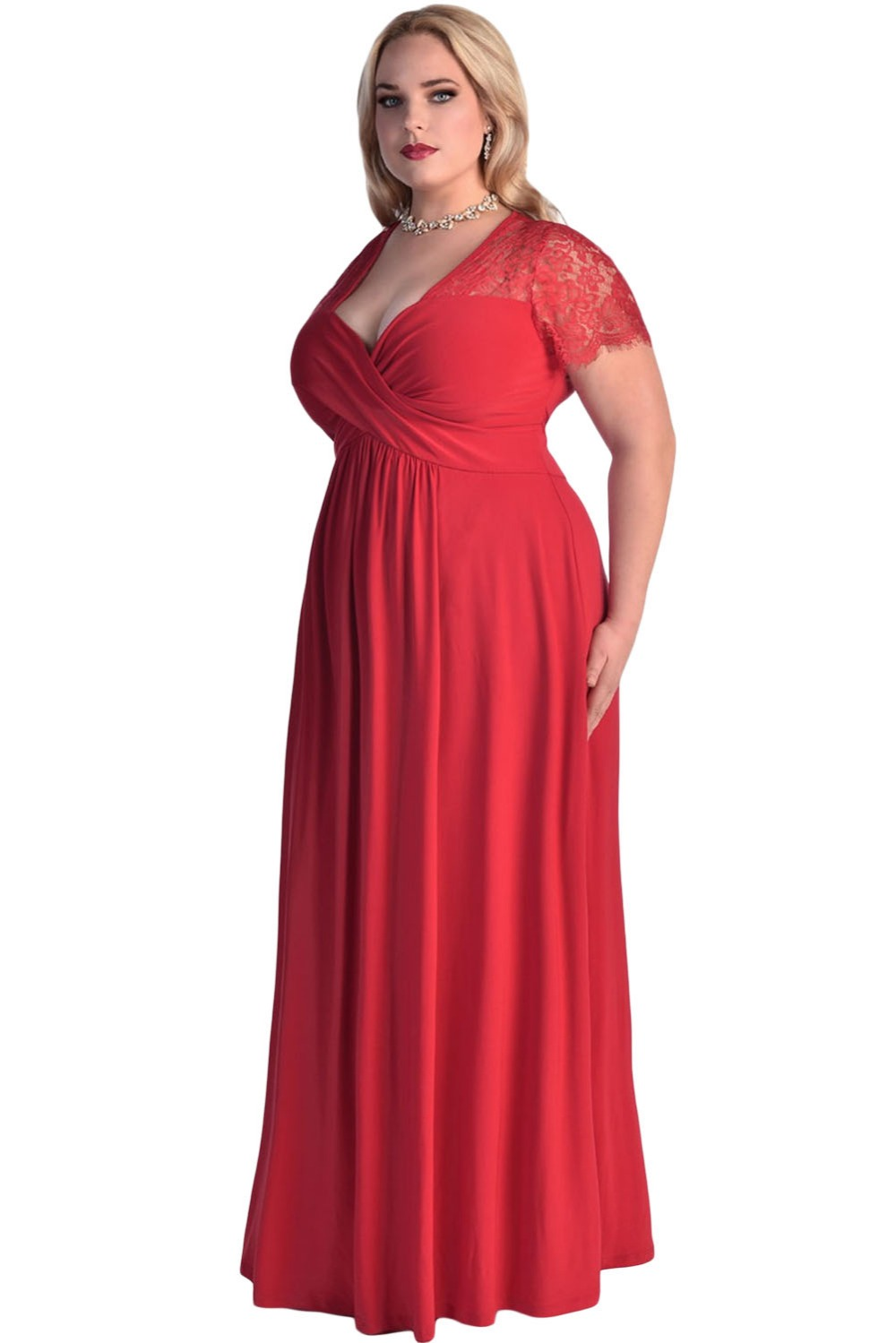 cf66ae2971 US $23.07 26% OFF|Dear lover Party Longo Vestidos Big Women Black Lace Yoke  Ruched Twist High Waist Plus Size Gown Dress with Short Sleeve LC61025-in  ...