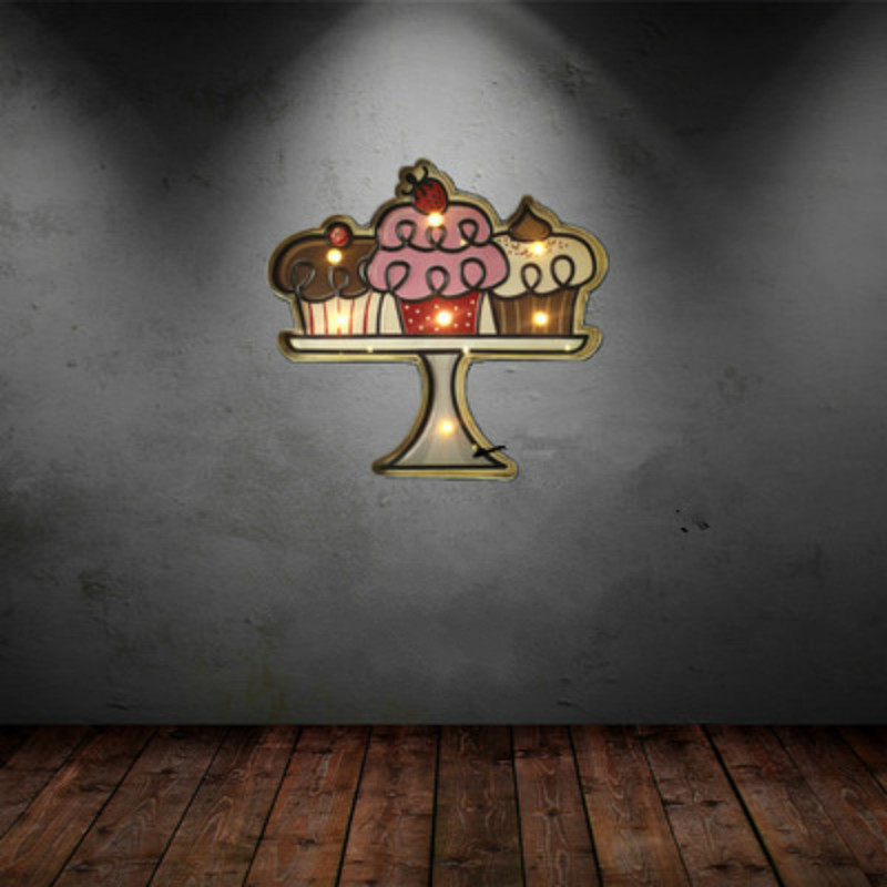 Loft Style Iron Art Cake Shape LED Wall Lamp Decorations LED Light Wall Coffee Shop Bar Home Personalized Decorations IY304125-1 w365 elephants unframed art wall canvas prints for home decorations