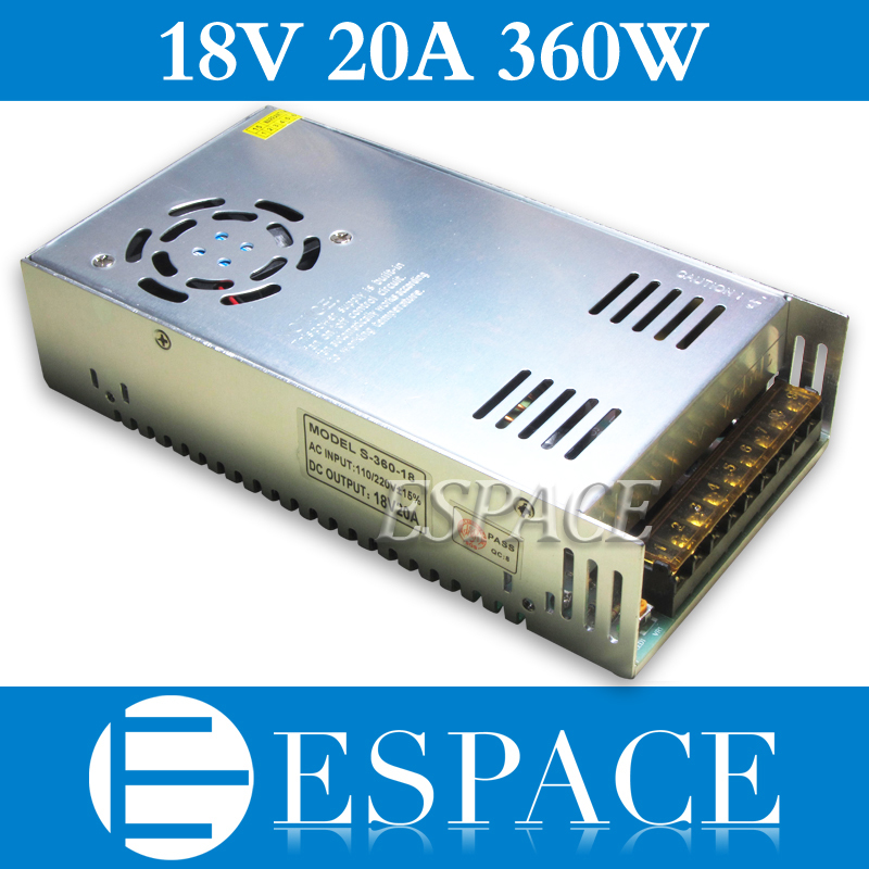Best quality 18V 20A 360W Switching Power Supply Driver for CCTV camera LED Strip AC 100-240V Input to DC 18V free shipping
