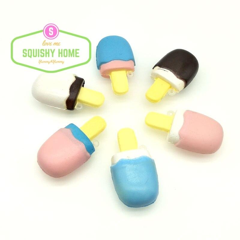 bilder für 24 Teile/los Mini Niedliche Ursprüngliche Eis Popsicle PU Weiche Squishy Phone Strap NEUE ANKUNFT Großhandel Günstige Kostenloser Versand