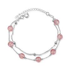 Женские браслеты с розовым клубничным кварцем из стерлингового