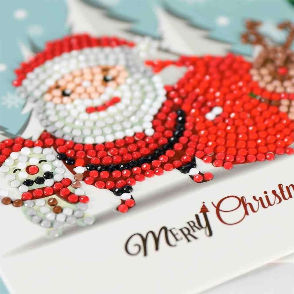Алмазная картина мультфильм Мини Санта Клаус Счастливого Рождества бумажные поздравительные открытки на крафт-бумаге Сделай Сам детский фестиваль поздравительные открытки
