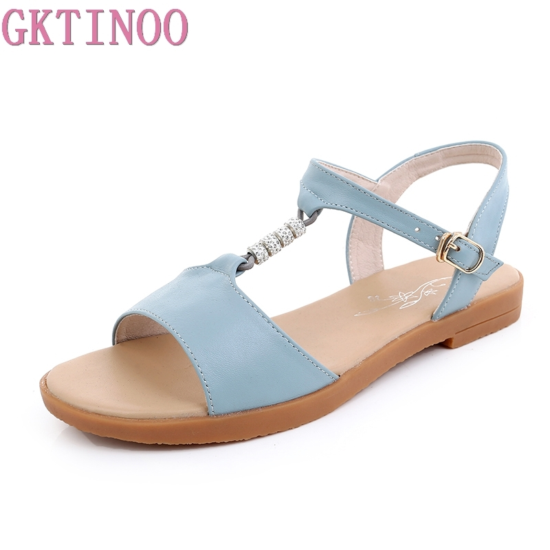 GKTINOO 2018 fashion summer new shoes woman buckle casual sandals women genuine leather shoes big size 35-43 gktinoo genuine leather sandals women flat heel sandals fashion summer shoes woman sandals summer plus size 35 43 free shipping