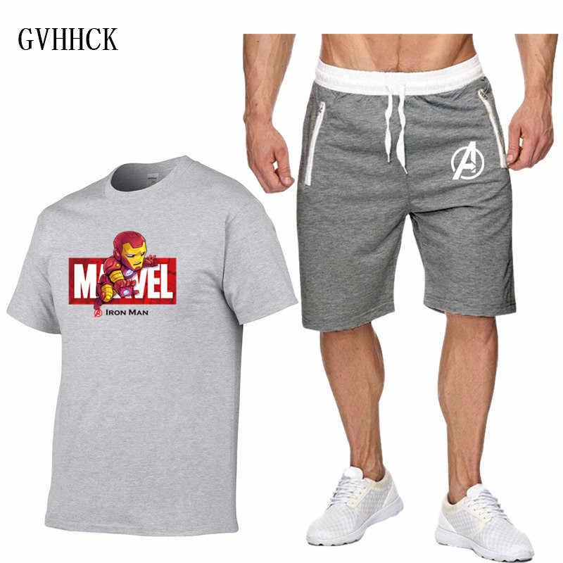 Conjuntos de pantalones cortos para hombre, trajes de verano con letras impresas, camiseta Casual Marvel 3D Iron Man Chándales, ropa de marca, camisetas, conjunto nuevo