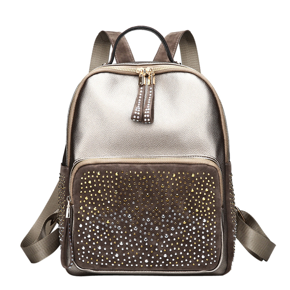 Fashion Women Girl Leather Backpack Rivet Decoration Travel Rucksack School Bag Popular JUNE2