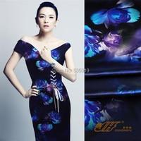 New Fashion Normic Material Silk Cheongsam One Piece Dress 120 Wide Elastic Satin Peony Blue Flowers