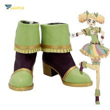 Aikatsu Saegusa Kii Cosplay Shoes Green High Heel Boots Custom Made Any Size цена и фото