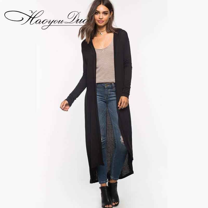 HAOYOUDUO Hooded Long Cardigan Women Fashion Female Cardigan Coat Spring Summer  Cardigans Feminino Casual Poncho Sweater - Compare Prices On Summer Cardigan Sweaters- Online Shopping/Buy