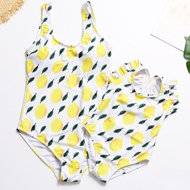 124ab57baa28b Family Matching Swimwear Mommy and Me Mother Daughter Swimsuits Lemon Fresh  Parent-child Cute Swimsuit Mum Baby Bathing Suits