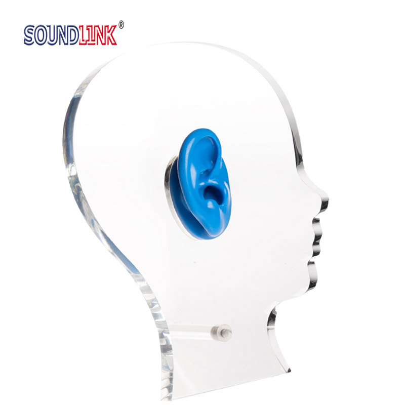 Acrylic Display Stand Exhibition Head Shape Hearing Aid Earphone Showcase Display with One Silicone Ear acrylic display with silicone ear model for hearing aids iem jewelry exhibition demonstration