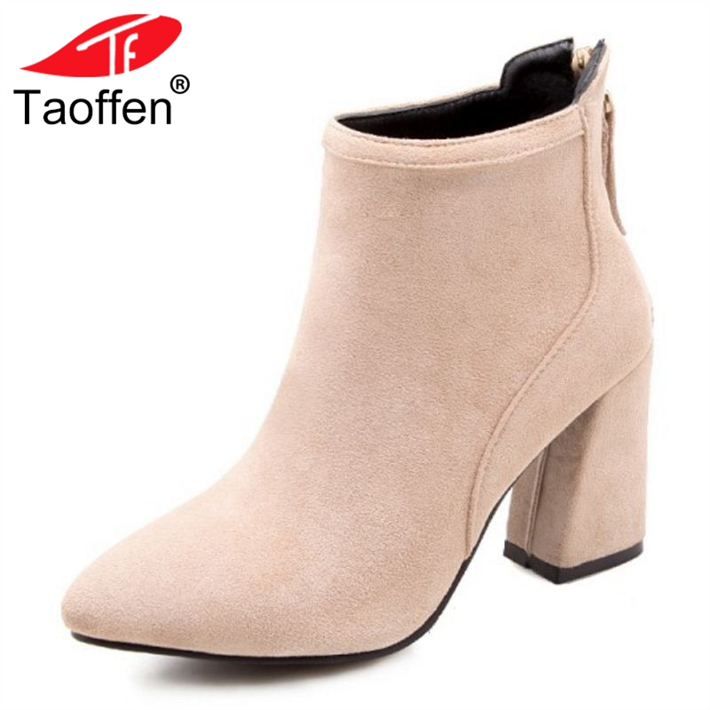 TAOFFEN Size 33-43 Women High Heel Boots Ankle Pointed Toe Zipper Ladies Boots Fashion Elegant Shoes Woman Short Boots misakinsa fashion pointed toe ankle boots woman square heel short botas brand new ladies glitter footwear shoes woman size 32 43