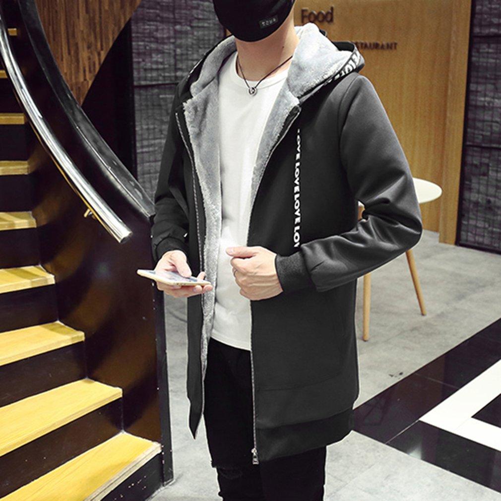 Men Winter   Trench   Long Coats 2018 Fashion Korean Style Slim Windbreak Zipper Jackets Loose Long Sleeve Hooded Outwear Coat