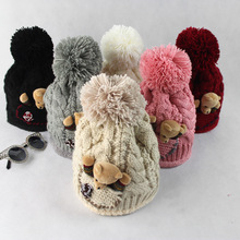 Korean version of the autumn and winter hat Bear Bear ball thicker warm wool hat women