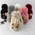 Versión coreana del otoño y el sombrero del invierno del Oso Oso bola gruesa sombrero caliente de las lanas mujeres gorro de lana del casquillo del oído lindo sombrero casco M216