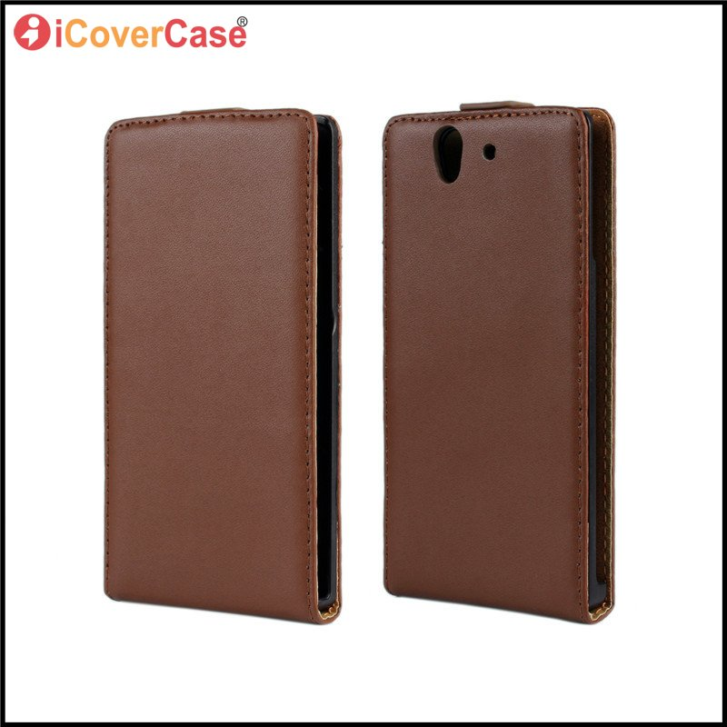 For Sony Xperia Z Case Phone Cover Pure Leather Flip Mobile