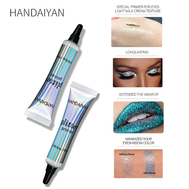 HANDAIYAN 10ml Eyes Primer Waterproof Sequins Gel Eye Shadow Foundation Glitter Makeup Cream Multifunction TSLM1