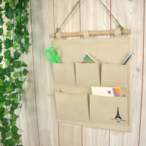 Cotton Tower Storage Bag 5 Pocket Wall Hanging Bags Multi Layer Fabric Debris Organizer