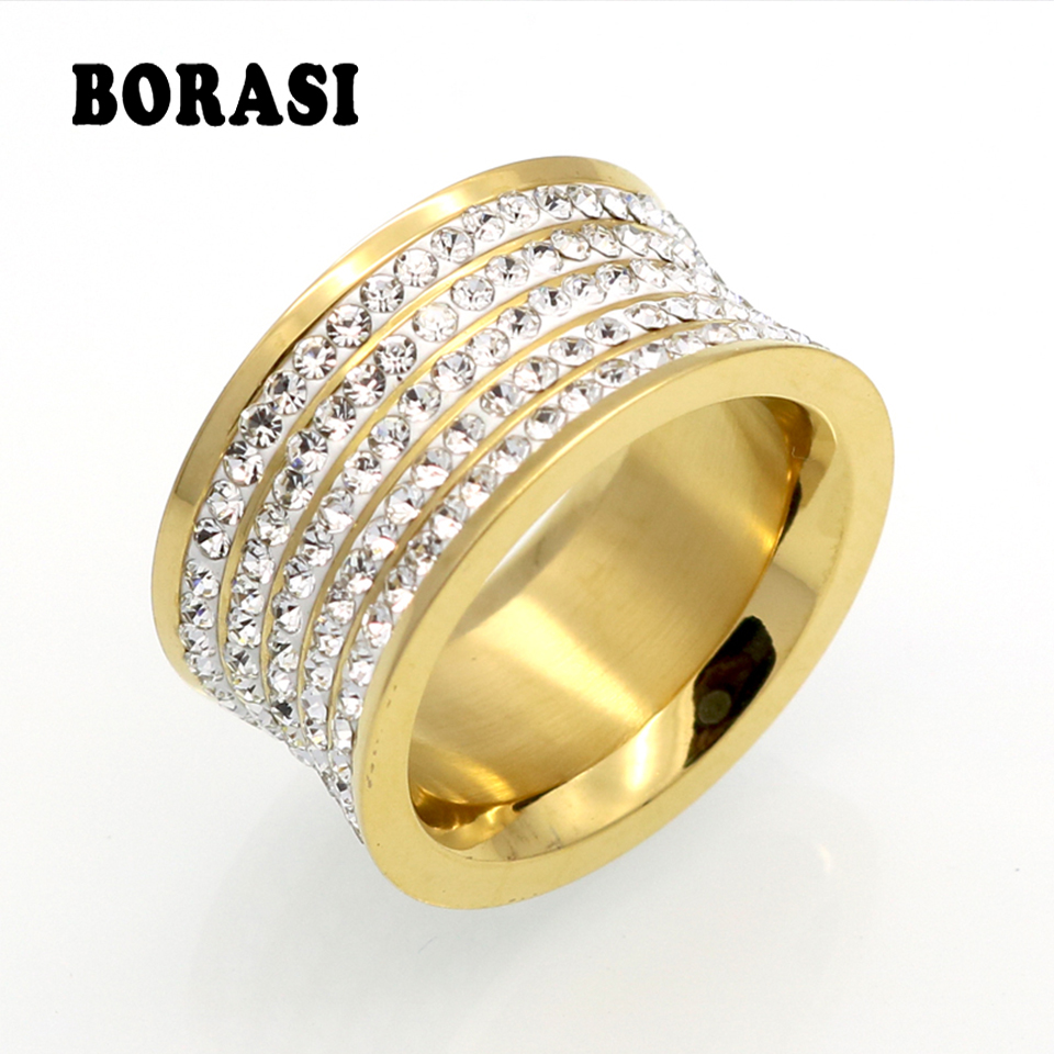 Brand Crystal Jewelry Wedding-Rings Stainless-Steel Unisex Luxury Fashoin Gold-Color
