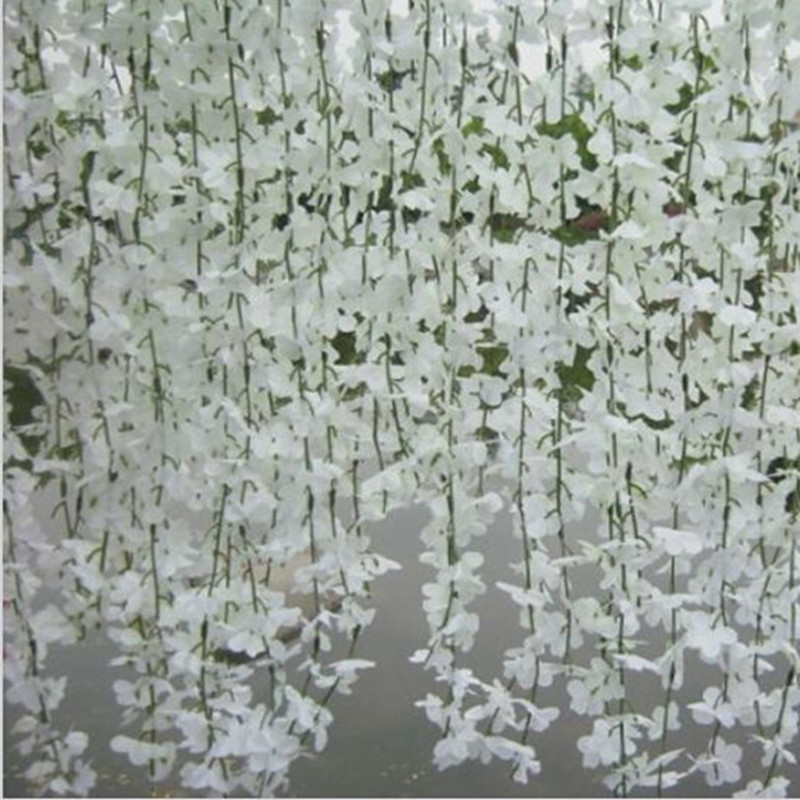 Elegant White Wisteria Vine Wall Hanging Rattan Silk Cherry Blossom - Festive and Party Supplies