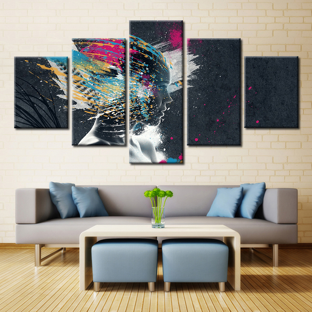 The girl in profile art painting pictures print on canvas fashion gifts for home decor wall