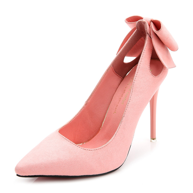 Fashion Flock Cut Outs Sweet Bowtie High Heels Shoes Woman Pointed Toe Pumps 2016 Slip on 10cm Heel Women Stiletto Shoes sweet women high quality bowtie pointed toe flock flat shoes women casual summer ladies slip on casual zapatos mujer bt123