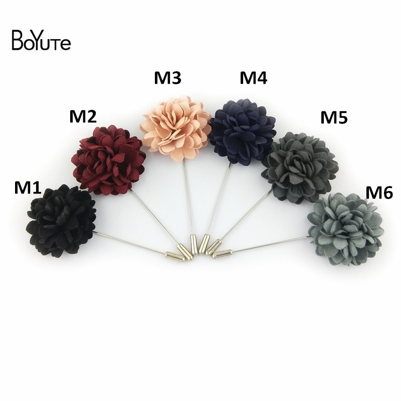 BoYuTe 5Pcs Hand Made Fabric Flower Lapel Pin Fashion Men Brooches and Pins for Suits (1)_