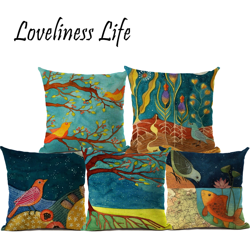 Tree Birds Cushion Covers Chinese Style Candy Color Soft Pillow Covers Baby Bedroom Sofa ...