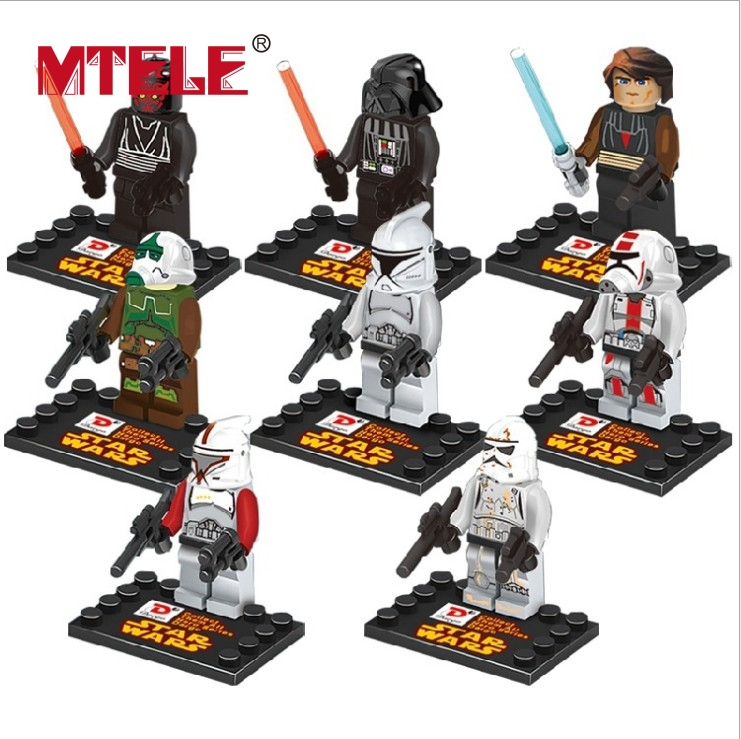 MTELE Star War 8pcs/lot Movie Figure Kid Baby Toy Building Blocks Sets Model Figures Brick Compatible With Lego 4pcs lot world war ii troops military german collector s edition kid baby toy figure building blocks set model minifigures brick