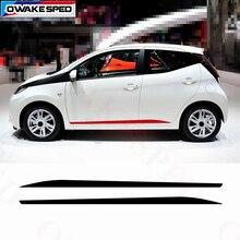 Спортивные наклейки на дверь, боковую юбку для Toyota AYGO-, гоночный стиль, автомобиль, производительность, полосы, Виниловая наклейка, авто аксессуары