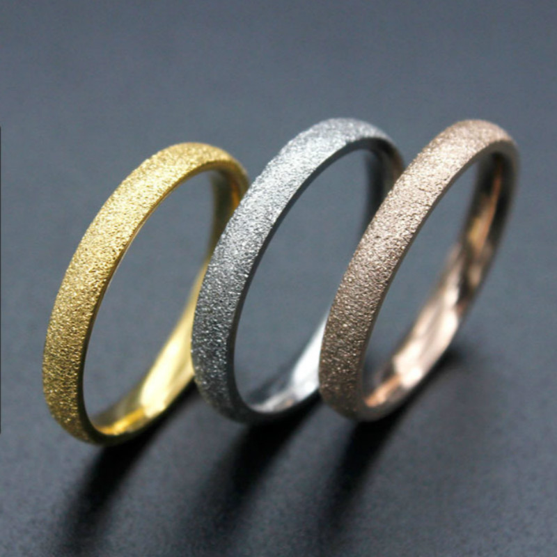 Matte Surface Stainless Steel Rings for Women Silver Rose Gold Color 3mm Width Slim Wedding Bands Ring Fashion Jewelry