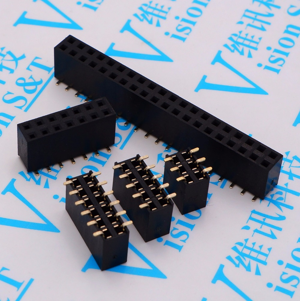 2.54mm double Female Header Connector SMD 2*2P/3P/4P/5P/6P/7P/8P/9P/10P/12P/15P/20P/40P female row seat row 10pcs dc3 6p 8p 10p 14p 16p 20p 26p 30p 34p 40p 50p 2 54mm socket header connector isp male double spaced straight idc jtag