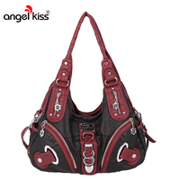 Angelkiss Two Top Zippers Closure Multiple Pockets Purses and Handbags Washed Leather Shoulder bags Women AK11282