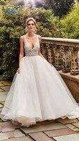 CLOUDS IMPRESSION 2019 A Line Wedding Dress Luxury Romantic Bridal Dress Vestige De Noiva BOHO White Gown Bridal
