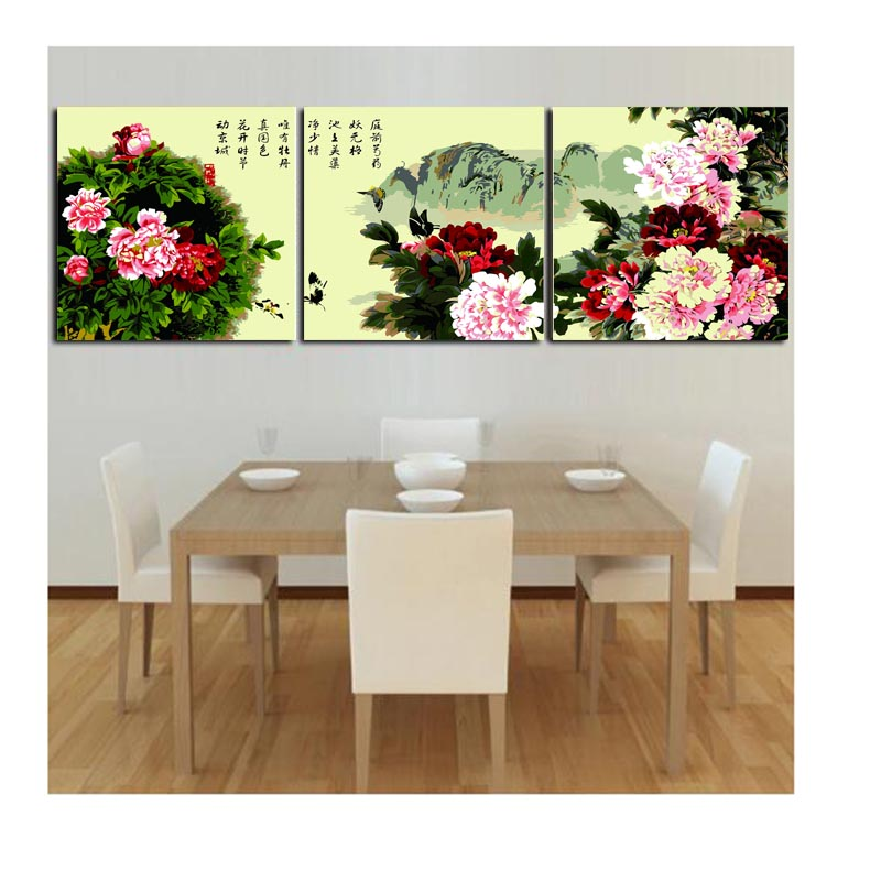 3 pcs DIY Oil Painting by Numbers Flower Triptych Pictures tree peony Landscape Abstract Paint Wall Sticker Home Decor Gift