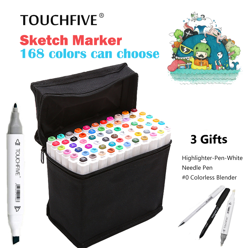 TouchFIVE 80 Colors Drawing Marker Pen Brush Pen Animation Sketch Markers Set For Artist Manga Graphic Alcohol Marker Supplies touchnew 80 colors artist dual headed marker set animation manga design school drawing sketch marker pen black body